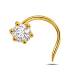 Solitaire Diamond nose Ring 0.10Ct Round Shape Natural Certified Solid Yellow Gold
